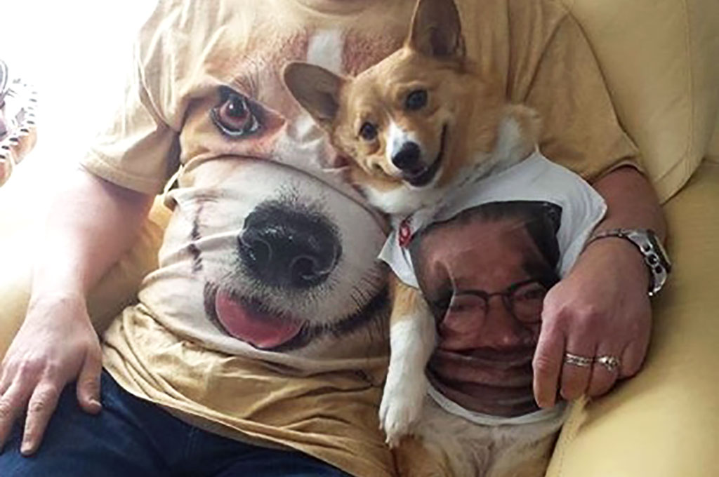 Man in dog t-shirt with dog
